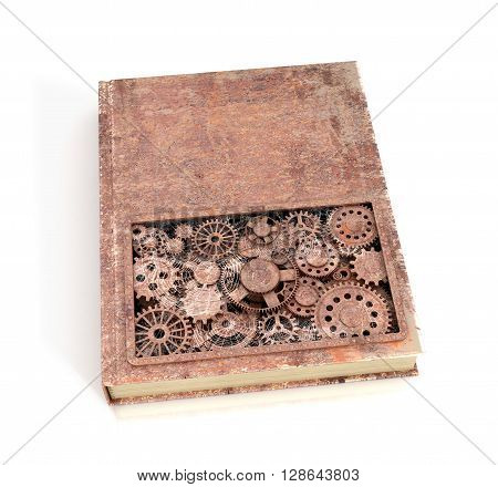 Concept rusty book shesternyamy isolated on a white background. 3D illustration.