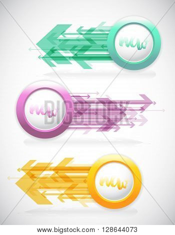 Set of colorful labels with arrows. Vector art
