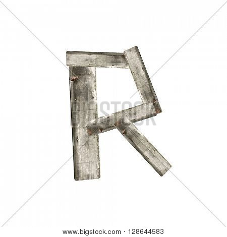 The letter R on white
