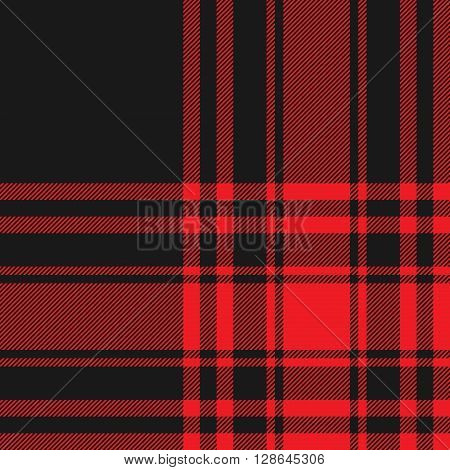 Menzies tartan black red kilt fabric texture seamless pattern.Vector illustration. EPS 10. No transparency. No gradients.