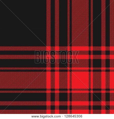 Menzies tartan black red kilt fabric texture seamless pattern.Vector illustration. EPS 10. No transparency. No gradients.