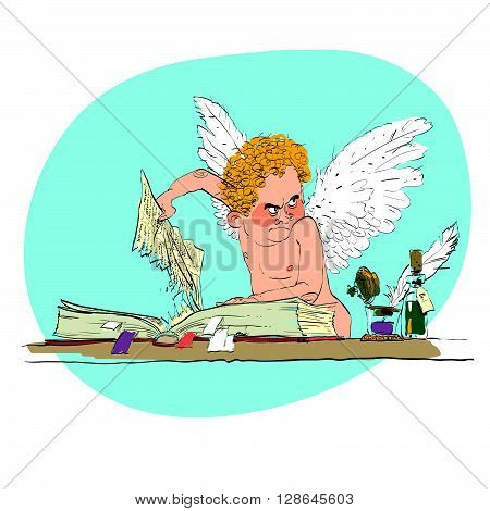 Bully angel pulls out the book page. Angels of good and bad. Fairy-tale creatures. Reading and libraries