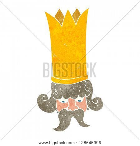 freehand retro cartoon king with huge crown
