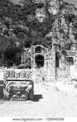 Myra In Turkey Europe Old Roman Necropolis And Indigenous Tomb Stone