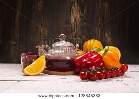 Natural sources of vitamin C. Healthy food concept. Selective focus