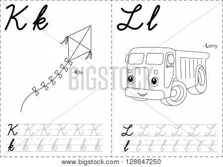 Cartoon Kite And Lorry. Alphabet Tracing Worksheet: Writing A-z And Educational Game For Kids