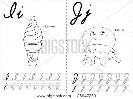 Cartoon Ice Cream And Jellyfish. Alphabet Tracing Worksheet: Writing A-z And Educational Game For Ki