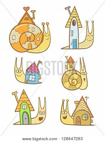 Cute cartoon snails and their houses set. Sweet home. Children's illustration.  Vector image.