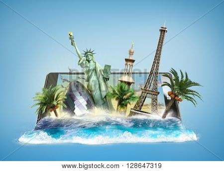 concept of travel landmarks look out for the sea wave the phone screen online ordering vouchers beautiful background for Camping & Outdoor theme 3d illustration on gradient background