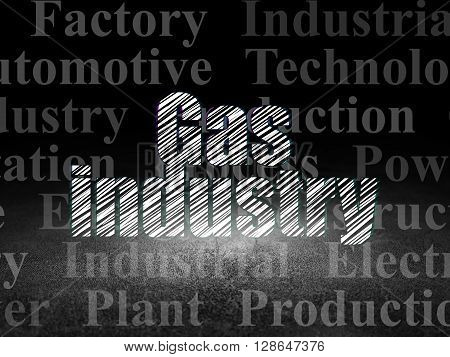 Manufacuring concept: Glowing text Gas Industry in grunge dark room with Dirty Floor, black background with  Tag Cloud