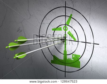 Success Industry concept: arrows hitting the center of Green Windmill target on wall background, 3D rendering
