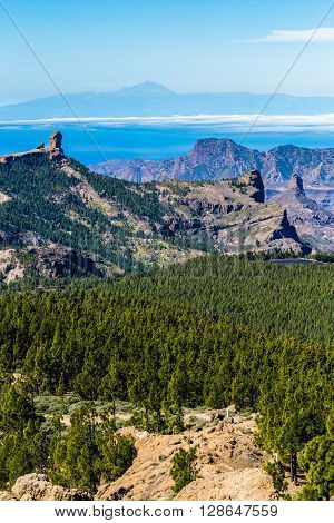 Scenic View Of Roque Nublo And El Teide - Tejeda Gran Canaria Canary Islands Spain