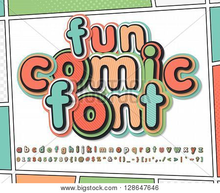 Fun multicolored high detail comic font and comic book page. Alphabet in style of comics, pop art. Multilayer funny letters and figures for illustrations, websites, posters, comics, banners