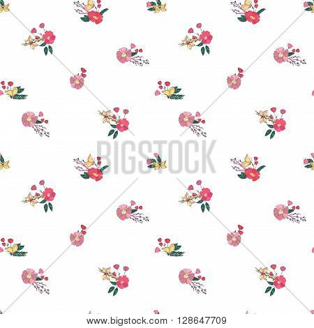 Floral Seamless Vintage Pattern With Wildflowers and Butterfly on White background. Hand Drawn Illustration