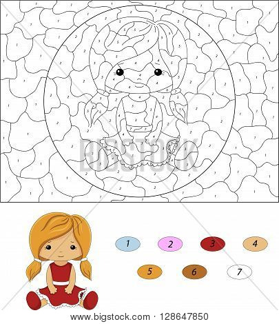 Cartoon Doll In Red Dress. Color By Number Educational Game For Kids