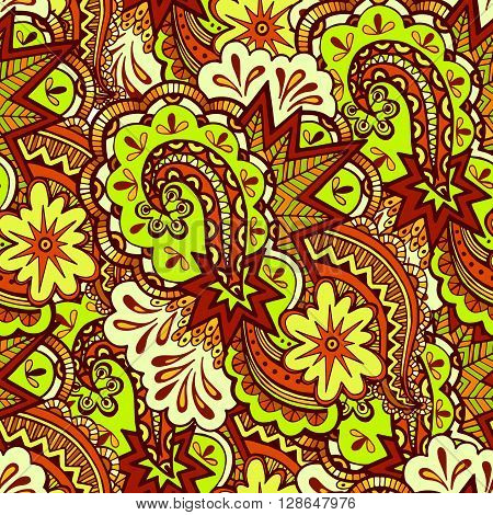 Seamless Abstract Background, Pattern of Colorful Figures and Elements. Vector