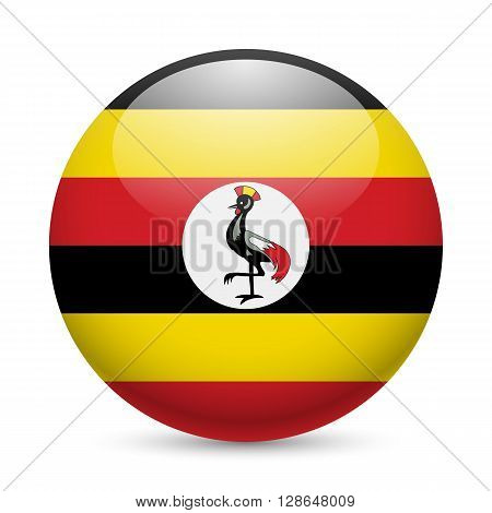 Flag of Uganda as round glossy icon. Button with Ugandan flag