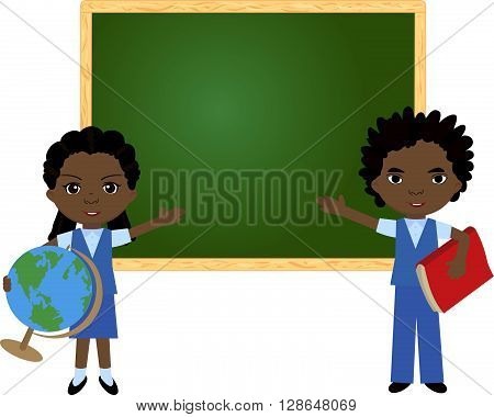 African Boy And Girl Standing Near The Blackboard In A Classroom