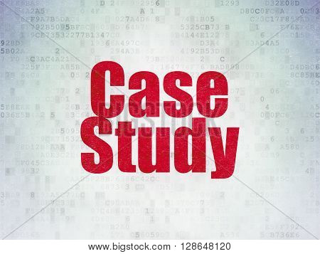 Learning concept: Painted red word Case Study on Digital Data Paper background