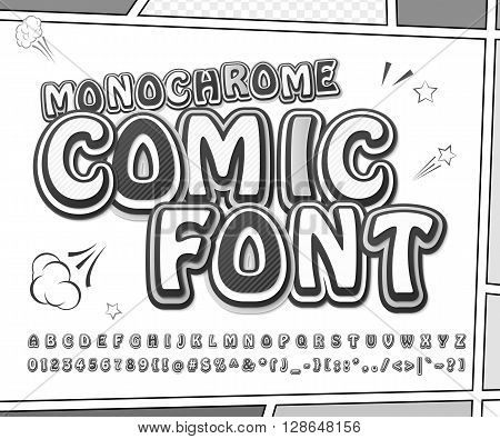 Creative black and white high detail comic font. Alphabet in style of comics, pop art. Multilayer monochrome letters and figures for illustrations, websites, posters, comics, banners