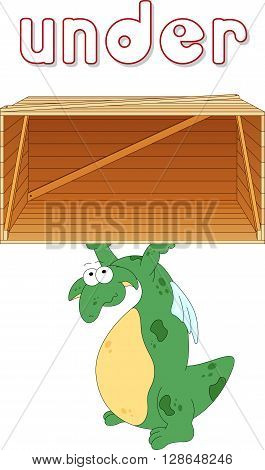 Cartoon Dragon Stands Under A Box. English Grammar In Pictures
