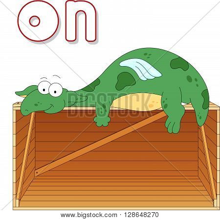 Cartoon Dragon Lies On A Box. English Grammar In Pictures