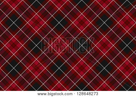 Pride of wales fabric diagonal textures red tartan seamless horizontal background. Vector illustration. EPS 10. No transparency. No gradients.