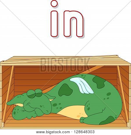 Cartoon Dragon Sleeps In A Box. English Grammar In Pictures