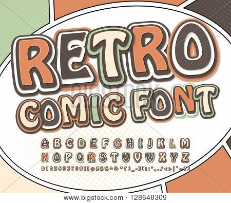 Retro high detail comic font. Alphabet in style of comics, pop art. Multilayer letters and figures for decoration of kids' illustrations, websites, posters, comics, banners