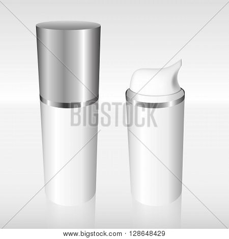 White Airless Bottle With A Silver Cap