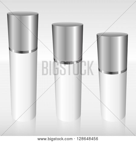 White Airless Bottles With A Silver Cap