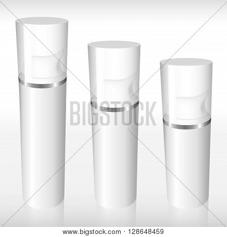 Three Airless Bottle With A Silver Ring
