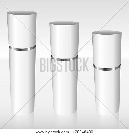 White Airless Bottles With A Silver Ring