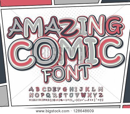 Amazing pink and grey high detail comic font and comic book page. Alphabet in style of comics, pop art. Multilayer funny letters and figures for illustrations, websites, posters, comics, banners