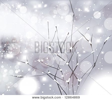 Abstract Christmas card with white snowflakes, winter tree branches and lights