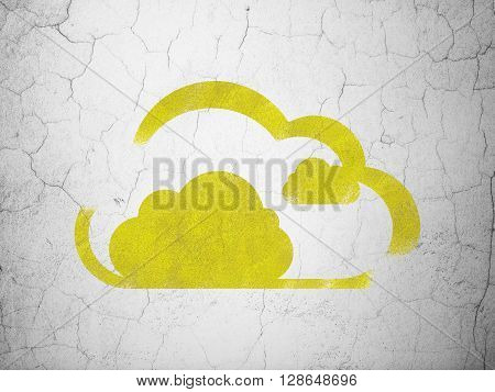 Cloud technology concept: Yellow Cloud on textured concrete wall background