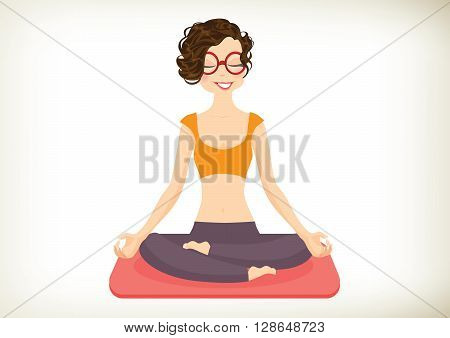 Cheerful Yoga Girl in lotus position. Vector illustration
