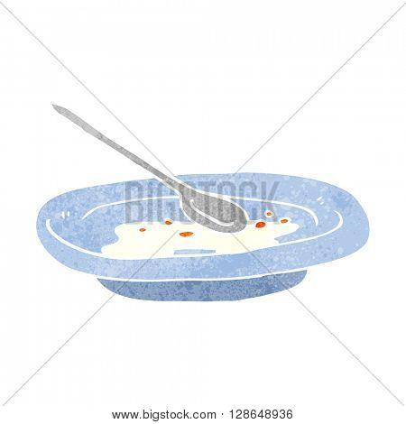 freehand retro cartoon empty cereal bowl