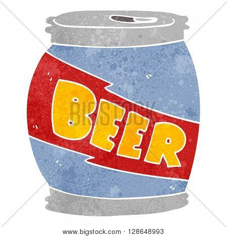 freehand retro cartoon beer can