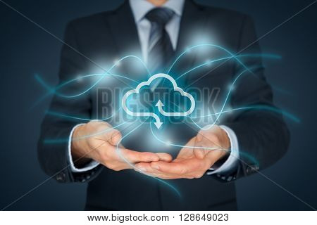 Cloud computing service concept - connect to cloud. Businessman offering cloud computing service represented by icon communication with cloud represented by lines and light points.