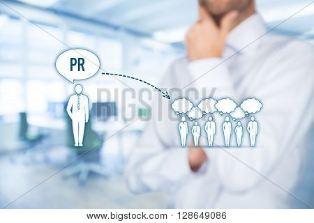 Public relations (PR) concept. Businessman think about PR services (public relations) and its impact to public office in background.