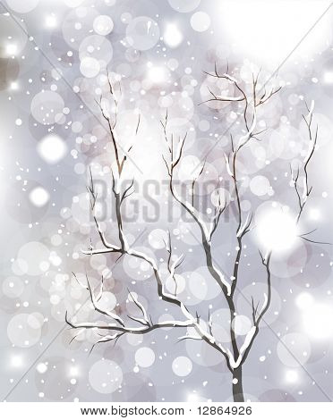Abstract Christmas card with white snowflakes, tree and lights