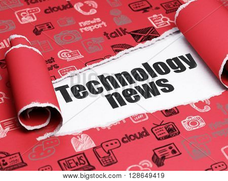 News concept: black text Technology News under the curled piece of Red torn paper with  Hand Drawn News Icons, 3D rendering