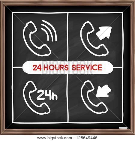 Doodle telephone icons set. Chalkboard effect. Client service, 24 hours awailable concept. Hand drawn infographic symbol. Line art style graphic design elements.