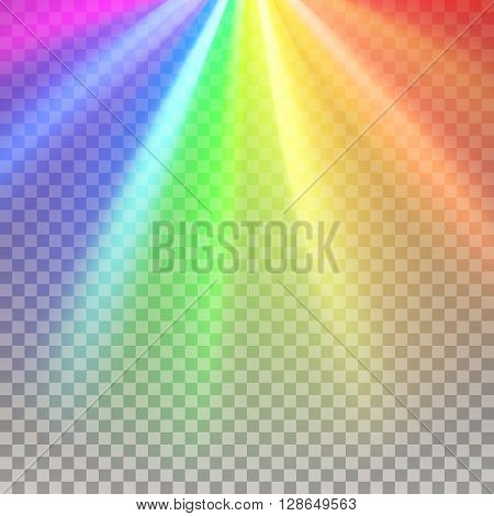 Rainbow rays. Color spectrum flare. Glaring effect with transparency. Abstract glowing light background. Ready to apply. Graphic element for documents, templates, posters, flyers. Vector illustration
