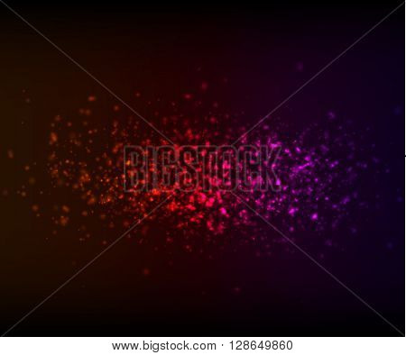 Beautiful colorful light glare. Cosmic glows and lighting effects with particles, sparkles and bokeh. Abstract vector illustration for your design
