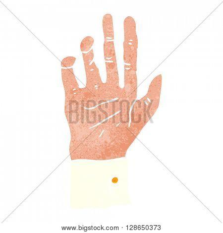 freehand retro cartoon hand reaching