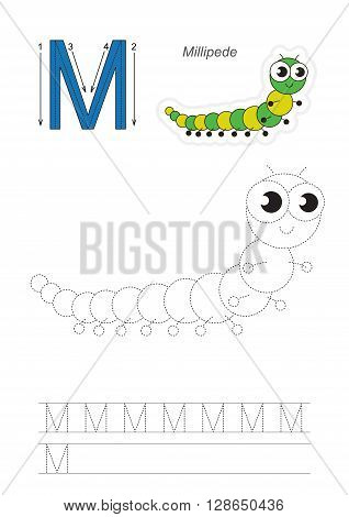 Vector exercise illustrated alphabet. Learn handwriting. Gaming and education. Page to be traced. Kid game. Complete english alphabet. Tracing worksheet for letter M. The millipede.