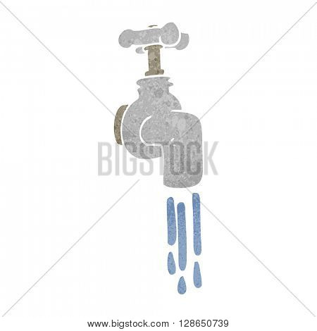 freehand retro cartoon running faucet