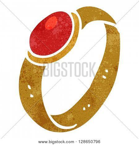 freehand retro cartoon ruby ring